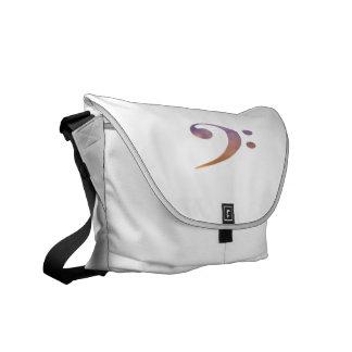 bass clef clouds purple orange courier bag