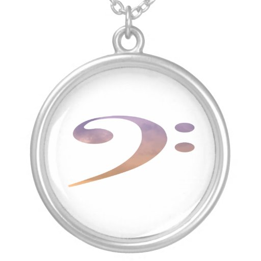 bass clef clouds purple orange round pendant necklace