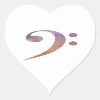 bass clef clouds purple orange heart sticker