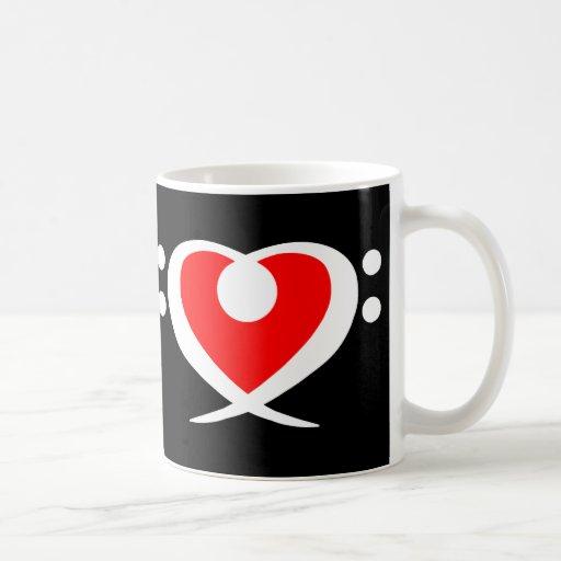 Bass Clef Dark Red Heart Mug