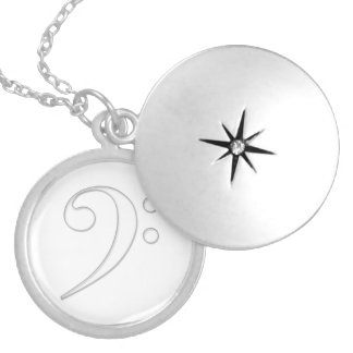 Bass clef glass illustration silver plated necklace