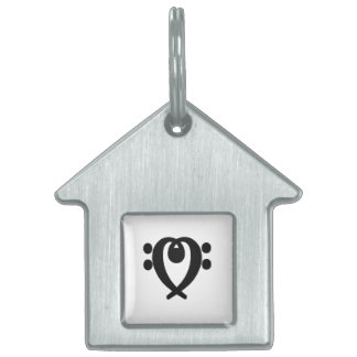 Bass clef heart black pet name tag