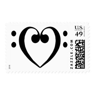 Bass clef heart (black) postage