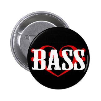 Bass Clef Heart 2 Inch Round Button