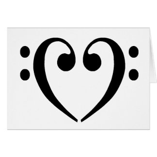 Bass Clef Heart Greeting Card
