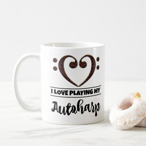 Bass Clef Heart I Love Playing My Autoharp Coffee Mug
