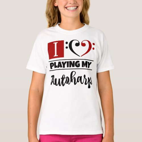 Double Black Red Bass Clef Heart I Love Playing My Autoharp T-Shirt