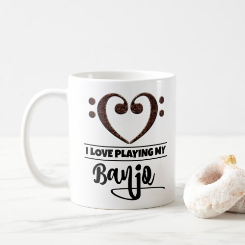 Bass Clef Heart I Love Playing My Banjo Coffee Mug