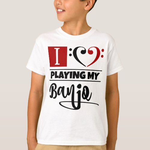 Double Black Red Bass Clef Heart I Love Playing My Banjo T-Shirt