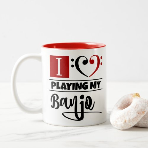 Bass Clef Heart I Love Playing My Banjo Two-Tone Coffee Mug