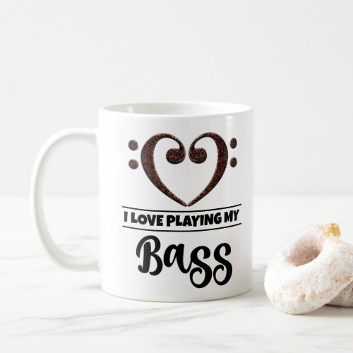 Bass Clef Heart I Love Playing My Bass Coffee Mug