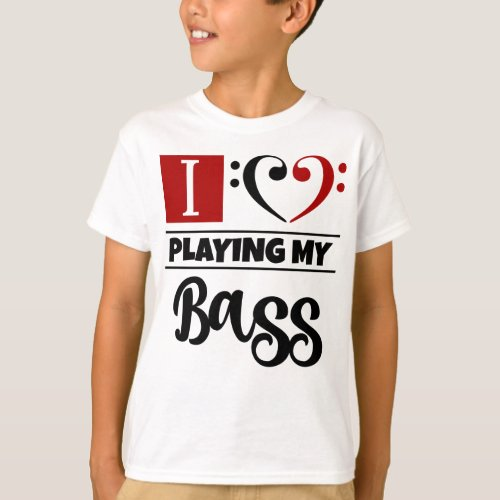Double Black Red Bass Clef Heart I Love Playing My Bass T-Shirt
