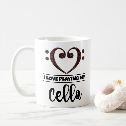 Bass Clef Heart I Love Playing My Cello Coffee Mug