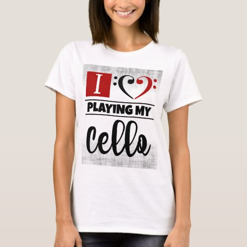 Bass Clef Heart I Love Playing My Cello Distressed Grunge Basic T-Shirt