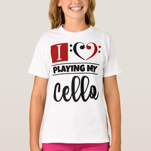 Double Black Red Bass Clef Heart I Love Playing My Cello T-Shirt