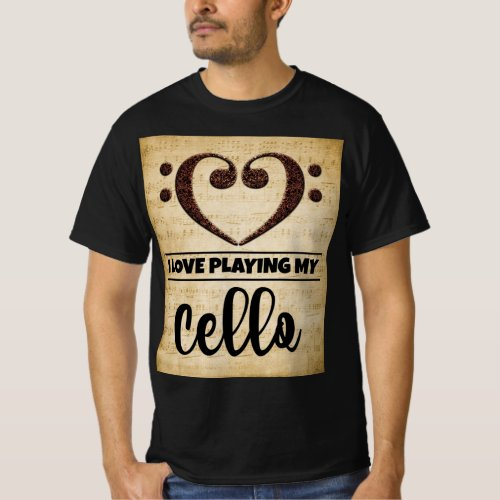 Bass Clef Heart I Love Playing My Cello Sheet Music Value T-Shirt