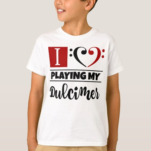 Double Black Red Bass Clef Heart I Love Playing My Dulcimer T-Shirt