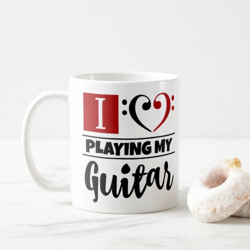 Bass Clef Heart I Love Playing My Guitar Coffee Mug