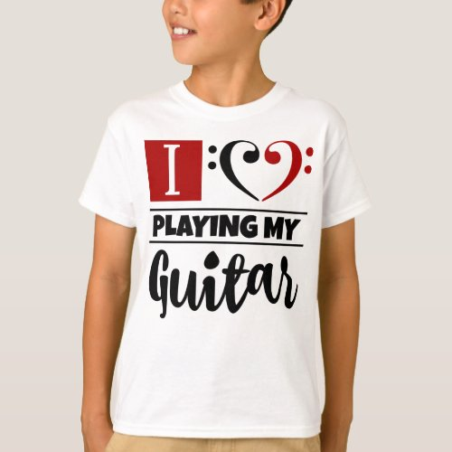 Double Black Red Bass Clef Heart I Love Playing My Guitar T-Shirt