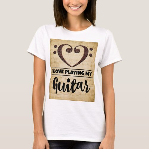 Bass Clef Heart I Love Playing My Guitar Sheet Music Basic T-Shirt