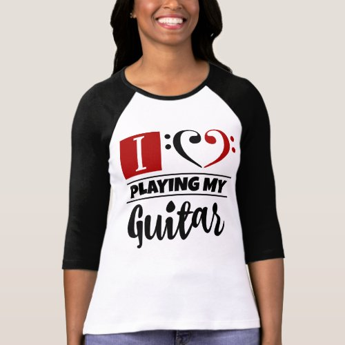 Double Black Red Bass Clef Heart I Love Playing My Guitar Raglan T-Shirt