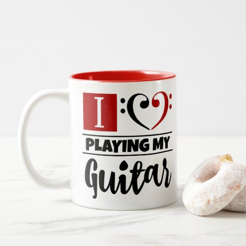 Bass Clef Heart I Love Playing My Guitar Two-Tone Coffee Mug