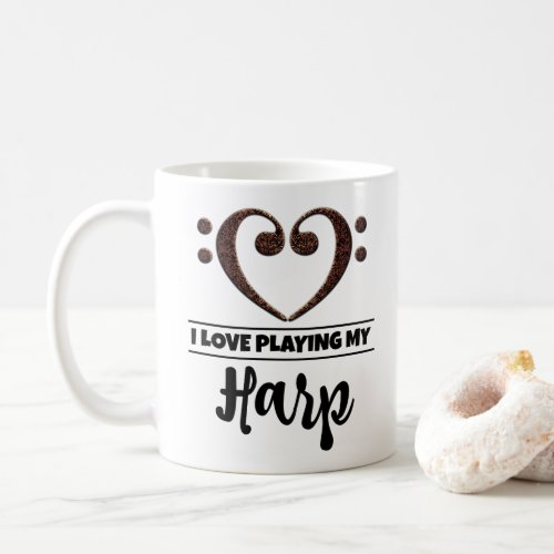 Bass Clef Heart I Love Playing My Harp Classic Ceramic Coffee Mug