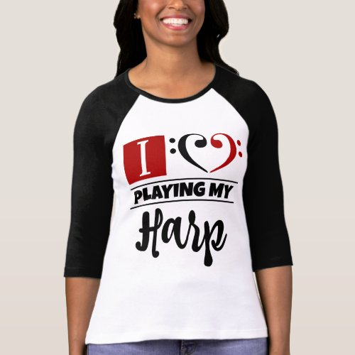 Double Black Red Bass Clef Heart I Love Playing My Harp Raglan T-Shirt