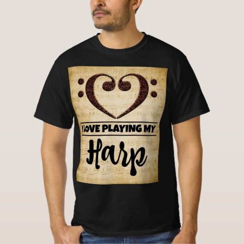 Bass Clef Heart I Love Playing My Harp Sheet Music Value T-Shirt