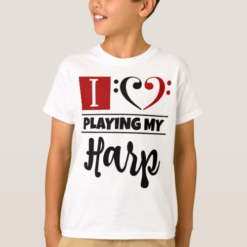Double Black Red Bass Clef Heart I Love Playing My Harp T-Shirt