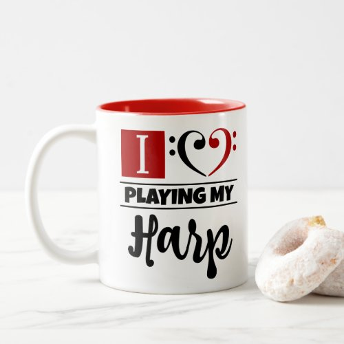 Bass Clef Heart I Love Playing My Harp Two-Tone Coffee Mug