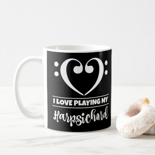 Bass Clef Heart I Love Playing My Harpsichord Coffee Mug