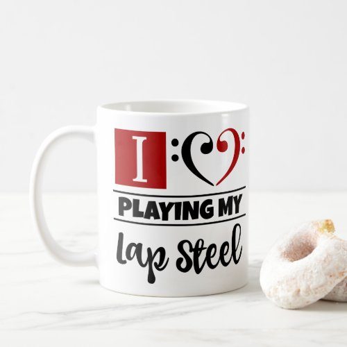 Bass Clef Heart I Love Playing My Lap Steel Coffee Mug