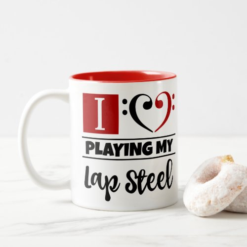 Bass Clef Heart I Love Playing My Lap Steel Two-Tone Coffee Mug