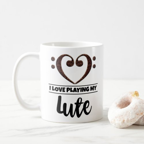 Bass Clef Heart I Love Playing My Lute Classic Ceramic Coffee Mug