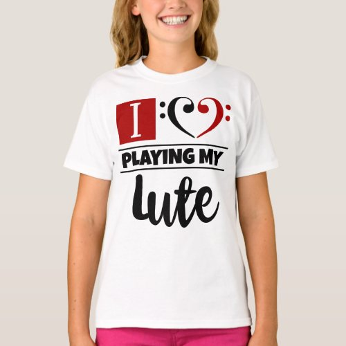 Double Black Red Bass Clef Heart I Love Playing My Lute T-Shirt