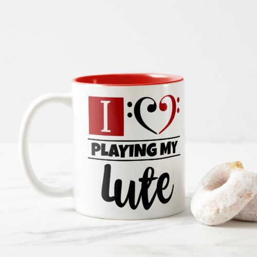 Bass Clef Heart I Love Playing My Lute Two-Tone Coffee Mug