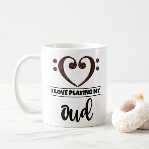 Bass Clef Heart I Love Playing My Oud Classic Ceramic Coffee Mug