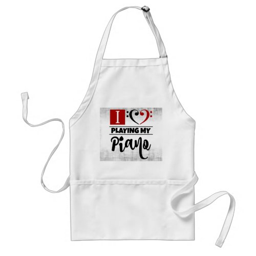 Bass Clef Heart I Love Playing My Piano Distressed Grunge Adult Apron