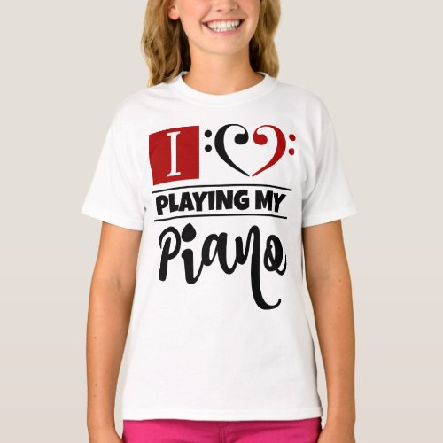Double Black Red Bass Clef Heart I Love Playing My Piano T-Shirt