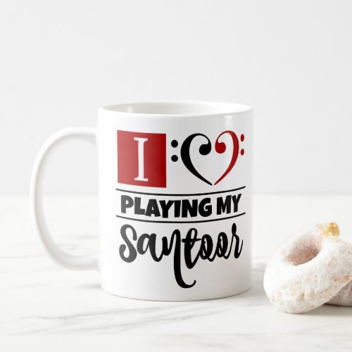 Black Red Double Bass Clef Heart I Love Playing My Santoor Coffee Mug