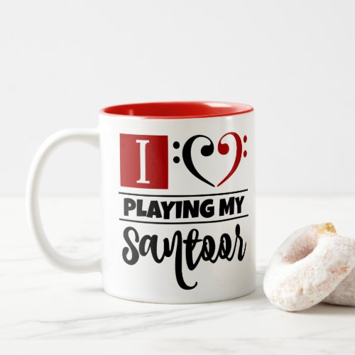 Black Red Double Bass Clef Heart I Love Playing My Santoor Two-Tone Coffee Mug
