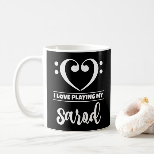 Bass Clef Heart I Love Playing My Sarod Classic Ceramic Coffee Mug