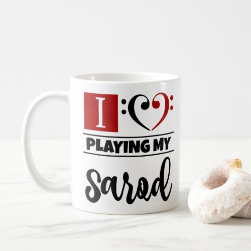 Bass Clef Heart I Love Playing My Sarod Coffee Mug