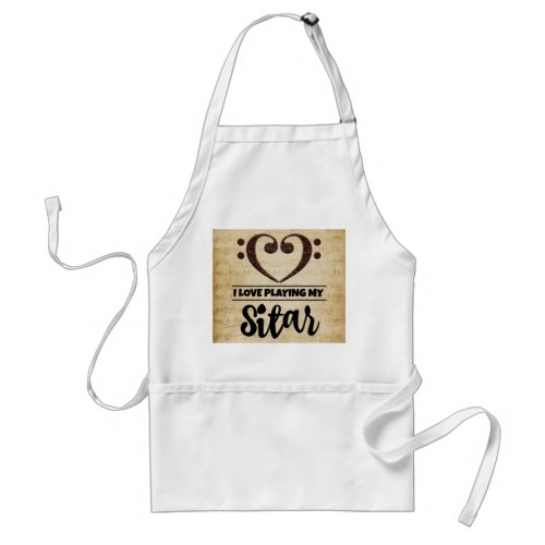 Bass Clef Heart I Love Playing My Sitar Sheet Music Adult Apron