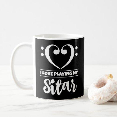 Bass Clef Heart I Love Playing My Sitar Classic Ceramic Coffee Mug