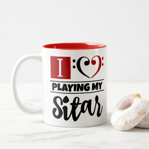 Black Red Bass Clef Heart I Love Playing My Sitar Two-Tone Coffee Mug