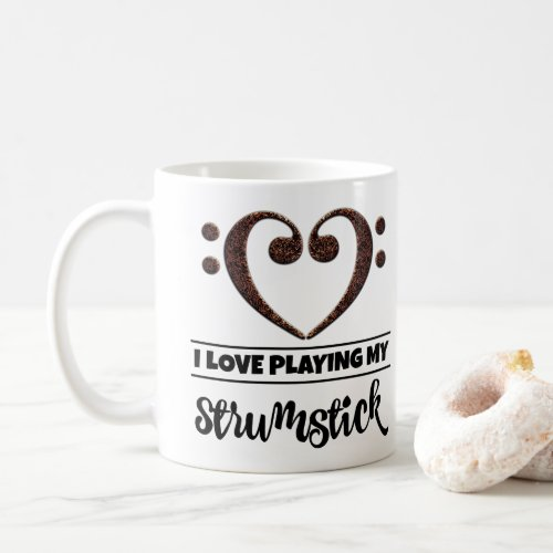 Bass Clef Heart I Love Playing My Strumstick Classic Ceramic Coffee Mug