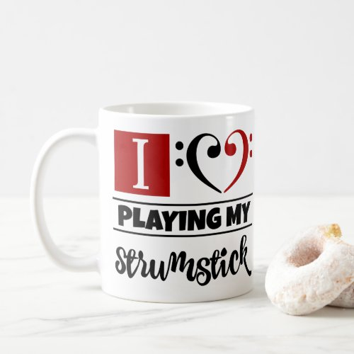 Black Red Bass Clef Heart I Love Playing My Strumstick Coffee Mug