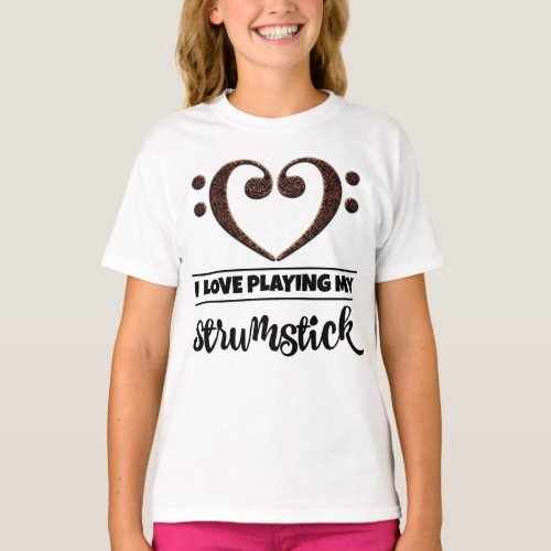 Double Bass Clef Heart I Love Playing My Strumstick Musician T-Shirt